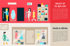 Shopping Center and Boutique Rooms flat shop interior concept web. Fashion Clothes Customers Mall Retail Purchase. Vector Illustration Royalty Free Stock Images