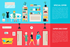 Shopping Center and Boutique Rooms flat shop interior concept web. Fashion Clothes Customers Mall Retail Purchase. Vector Illustration Stock Images