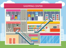 Shopping Center Buiding Design. Shopping mall, shopping center interior, restaurant and boutique, store and shop, architecture retail, urban structure Stock Photos