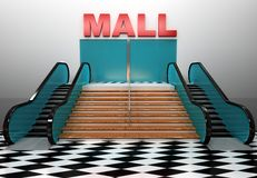 Shopping center building. Render. Royalty Free Stock Photo