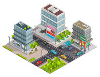 Shopping Center Buildings Complex Isometric Banner. City shopping center in business district area street view with buildings complex and parking isometric Royalty Free Stock Photo