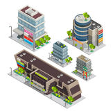 Shopping Center Buildings Complex Isometric Composition. Modern city shopping center complex isometric composition with supermarket and department store Royalty Free Stock Photography
