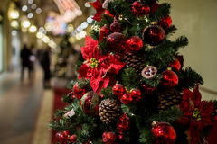Shopping center with Christmas pine. Shopping center with decorated Christmas pine cones, flowers and red balls Royalty Free Stock Photography