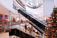Shopping center at christmas time stock images