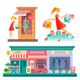 Shopping center, city scape. Shopping center: cafe, accessories, boutique. City scape, fashion. Girl with shopping bags. Vector flat illustrations Stock Photos