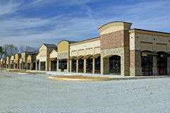 Shopping Center Construction. This is a suburban shopping center nearing completion royalty free stock image