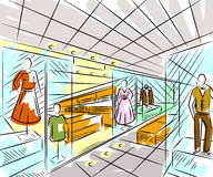 Shopping center with fashion stores. Interior design in sketch style. Stock Image