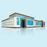 Shopping center with large windows in perspective. Shopping center with reflection on blue background Stock Image
