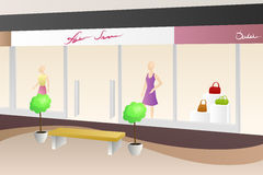 Shopping center mall modern beige interior shop illustration Royalty Free Stock Image