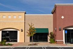 Shopping Center Store Front. New Brown and Yellow Shopping Center Store Front royalty free stock images