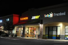 Shopping Center Stores At Night. Royalty Free Stock Photography