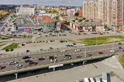Shopping centers and bridge over railways. Tyumen Royalty Free Stock Images