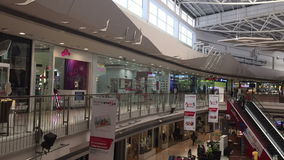 Shopping centre with atrium inside interior stock video footage