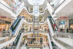 Shopping centre Lubava. Modern mall interior. CHERKASY, UKRAINE – 14 October, 2018: Shopping centre Lubava. Modern mall interior with shops, elevator and royalty free stock photography