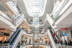 Shopping centre Lubava. Modern mall interior. CHERKASY, UKRAINE – 14 October, 2018: Shopping centre Lubava. Modern mall interior with shops, elevator and stock photo