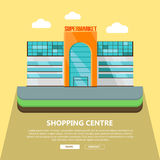 Shopping Centre Web Template in Flat Design. Royalty Free Stock Photo