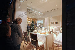 Shopping in Champs Elysees. Paris. Christmas shopping on Champs Elysees. Zara home boutique. Paris, France. November 2014 royalty free stock images