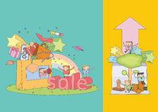 Shopping character Series. Flat design vector illustration character of business Stock Photos