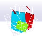 Shopping chart and bags Royalty Free Stock Image