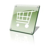 Shopping chart icon. A green shinny shopping chart icon Stock Illustration