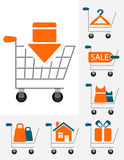 Shopping chart icons Stock Image