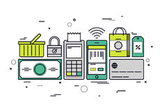 Shopping checkout line style illustration. Thin line flat design of online shopping checkout, buying store goods by pos terminal, sell mass-market product via Royalty Free Stock Photo