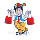 Shopping cheerful character Stock Images