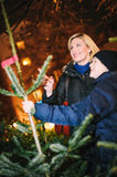 Shopping for Chrismas Tree royalty free stock image