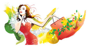 Shopping in Christmas. Portrait a young woman holding shopping bag royalty free illustration