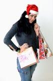 Shopping christmas girl stock photos