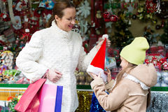 Shopping at the Christmas market Stock Photo
