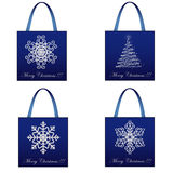 Shopping Christmas Package Set Stock Photo