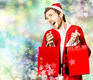 Shopping for christmas presents at store sales Royalty Free Stock Images