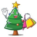 Shopping Christmas tree character cartoon. Vector illustration Stock Images