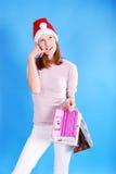 Shopping Christmas woman. Royalty Free Stock Photo