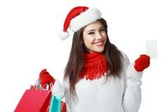 Shopping Christmas woman Stock Image