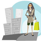 Shopping in the city Stock Image
