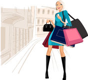 Shopping in city. Beauty woman om shopping in the city Royalty Free Stock Images