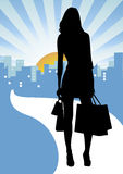 Shopping in the city. Shopping background,girl silhouette,  image Stock Photography