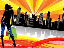 Shopping in the city. Illustrtion of urban life, shopping girl with city skyline background Stock Images