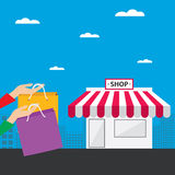 Shopping in the city with bag and front of shop, vector illustration Royalty Free Stock Images