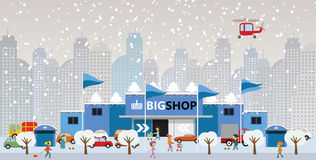 Shopping in the city (Christmas) Royalty Free Stock Images
