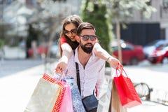 Couple Enjoying Shopping Trip Together royalty free stock photo