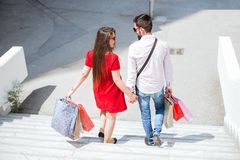 Couple Together Shopping in the city Royalty Free Stock Image