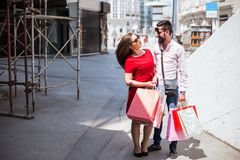 Couple Together Shopping in the city Stock Images
