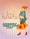 Shopping city poster Royalty Free Stock Photography