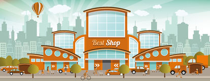 Shopping in the city (retro colors) Royalty Free Stock Photo