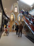 Shopping City Satu Mare Romania opening 05/12/2018 glowing decoration. The biggest shopping Mall in Satu Mare, Romania had it`s grandiose opening today 05/12/ stock photography
