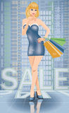 Shopping in city. Sexy woman with shop bags Royalty Free Stock Photo