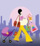 Shopping in a city. vector Royalty Free Stock Image